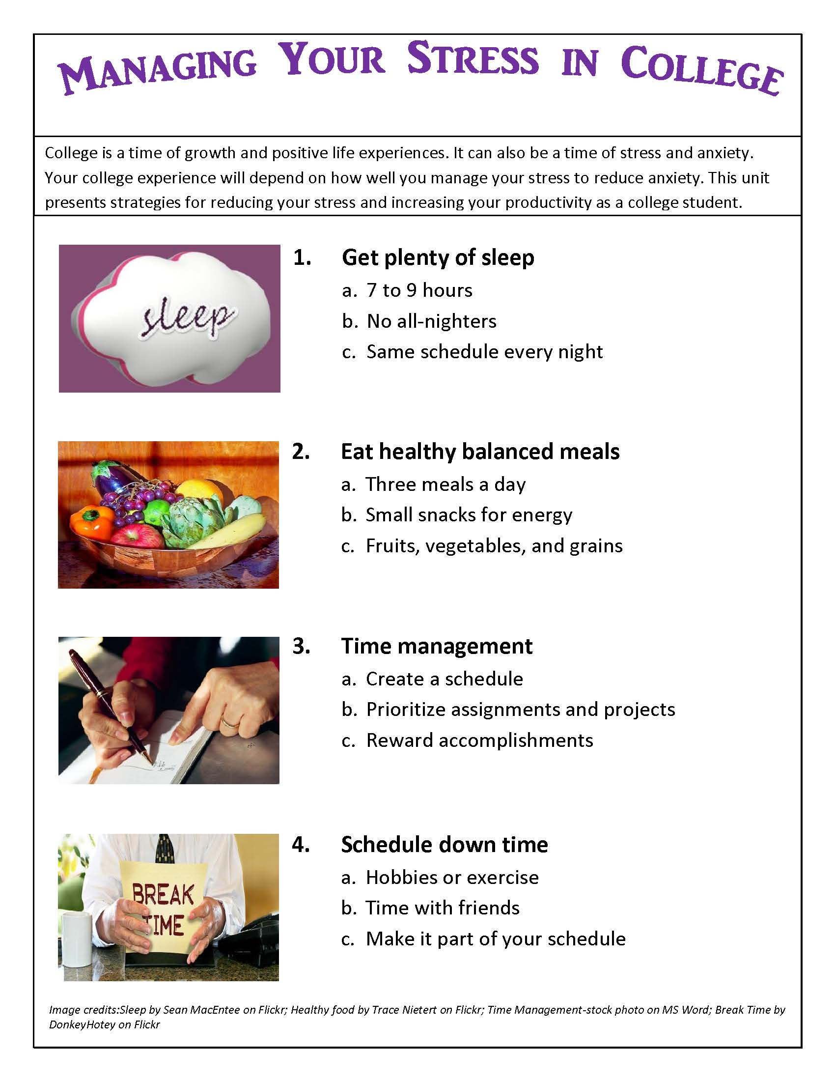 lesson reducing stress stress management for college students handout managing your stress in college link